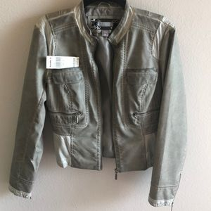 Gray toned moto pleather jacket size medium
